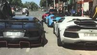 """Cặp đôi siêu xe Lamborghini Aventador độ độc nhất Việt Nam """"thi tài nẹt pô"""" trước nhà hàng của Cường """"Đô-la"""""""