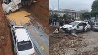 Quảng Ninh: Tránh xe bán tải, xe container đâm liên hoàn 3 ô tô con rồi lao xuống hố bên đường