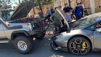 Siêu xe Lamborghini Huracan hết xăng, người lái lại gọi xe địa hình đến câu bình ắc-quy