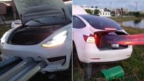 Thanh lan can đâm xuyên Tesla Model 3 nhưng người lái vẫn thoát chết thần kỳ