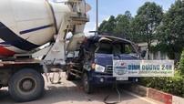 Bình Dương: Xe tải đâm vào xe bồn đang quay đầu, 2 người trên xe may mắn thoát chết