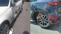 Hà Nội: Nữ tài xế lái Ford Ranger lao sang làn đường ngược chiều, tông liên hoàn Mercedes-Benz và Mazda CX-5