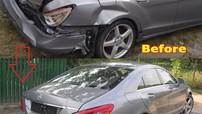 Chứng kiến thợ người Nga sửa chữa phần cốp bị hỏng nặng của chiếc Mercedes CLS