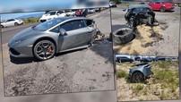 Xót xa siêu xe Lamborghini Huracan bị đứt làm hai mảnh sau va chạm trên cao tốc với xe Jeep
