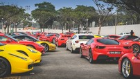 """""""Rừng"""" siêu xe Ferrari của nhà giàu Singapore rồng rắn đi xem giải đua xe F1"""