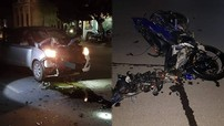 """Thái Bình: """"Thông chốt"""" cảnh sát giao thông, thanh niên trong đoàn đua tông xe máy vào ô tô"""