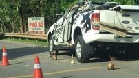 Hải Dương: Xe bán tải Ford Ranger bị bạt cả nóc sau va chạm với ô tô tải, 2 người tử vong