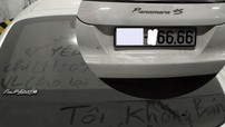 """Porsche Panamera biển tứ quý 6 """"làm bạn"""" với bụi trong hầm gửi xe cùng nhiều dòng chữ gạ bán"""