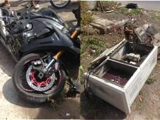 Bà Rịa-Vũng Tàu: Tông vào trụ bê tông, Yamaha R1 độ thân vỏ carbon hư hỏng nặng