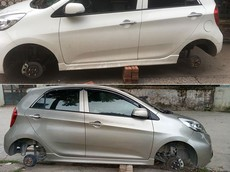Cặp đôi Kia Morning bị ăn trộm bánh xe tại cùng một khu vực ở Hà Nội