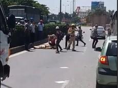 Xe tải đâm văng cảnh sát giao thông ở Hưng Yên