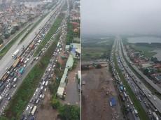 Cầu Thanh Trì ùn tắc hàng tiếng đồng hồ vì vụ đâm xe liên hoàn