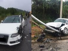 2 chiếc xe sang Audi gặp nạn tại khu vực cao tốc Nội Bài - Lào Cai trong cùng 1 ngày