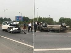 Nữ tài xế lái Kia Sorento, đâm lật ngửa Ford Ranger trên cao tốc Hà Nội - Bắc Giang