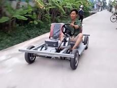 Người nông dân Nam Định tự chế ô tô điện với thiết kế theo phong cách Lamborghini