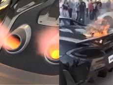 """Nẹt pô """"khạc lửa"""" siêu xe McLaren 600LT dẫn đến cháy xe"""