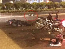 Hà Nội: Bị xe máy kẹp 3 đâm trực diện, 2 chiến sỹ cảnh sát cơ động thương vong