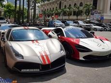 """Dàn siêu xe hơn 65 tỷ đồng của giới nhà giàu Sài thành tụ tập vào sáng nay có """"biến lớn"""""""