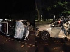 """Range Rover biển """"tứ quý 8"""" lật nghiêng sau khi tông bẹp dúm Honda City"""