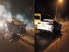 Bắc Giang: Ô tô Mazda3 nghi gây tai nạn rồi bỏ chạy va chạm với xe ben, tài xế tử vong