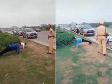 Xôn xao với video tài xế bị CSGT Bắc Giang phạt chống đẩy do không đeo khẩu trang