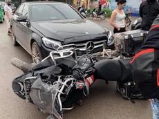 Thái Nguyên: Mercedes-Benz do nữ lái xảy ra va chạm với xe phân khối lớn đang đi phượt