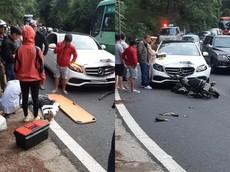 Xe máy lấn làn tông trực diện vào xe Mercedes-Benz do nữ lái ở đèo Prenn