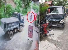 Video quay khoảnh khắc xe côn tay Honda Winner ôm cua lấn làn, tông trực diện ô tô tải tại Yên Bái