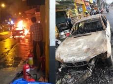 Xe sang BMW bất ngờ bốc cháy trên quốc lộ 13, tài xế mở cửa chạy thoát thân