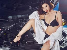 Người mẫu Vương Kinh Lan diện bikini, khoe chân dài miên man bên chiếc BMW M3