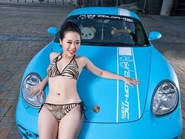 Mát mắt với người mẫu Vương Tử Khôn thả dáng gợi cảm bên Porsche Cayman S