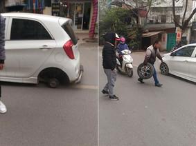 Hà Nội: Thợ sửa xe quên bắn vít, Kia Morning đang chạy bất ngờ rụng bánh sau