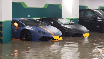 Sau bão Mangkhut, 2 chiếc Lamborghini Huracan bị nước lũ bao vây tại hầm đỗ xe