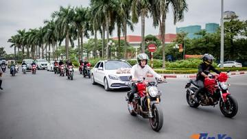 Thích thú với đoàn xe rước dâu Mercedes-Benz S-Class và Ducati hộ tống tại Hà Nội