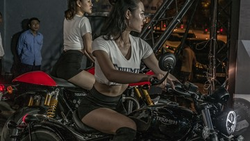 Toàn cảnh buổi khai trương showroom Triumph Hà Nội với sự góp mặt của MC Anh Tuấn và diễn viên Minh Tiệp