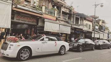 3 chiếc xe siêu sang Rolls-Royce rồng rắn tham gia rước dâu tại Hà Nội
