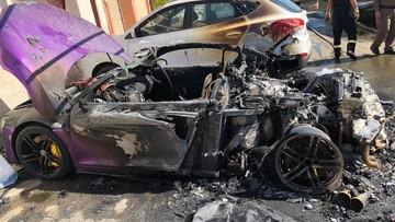 Người đàn ông tưới xăng đốt siêu xe Audi R8 màu tím mộng mơ của nữ đại gia