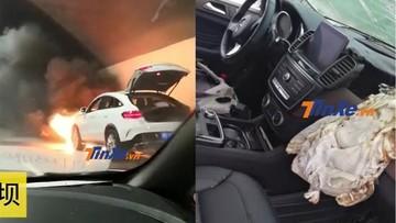 Sau khi được bảo dưỡng ở đại lý 4S, chiếc Mercedes-Benz GLE Coupe bất ngờ bốc cháy trên đường về nhà