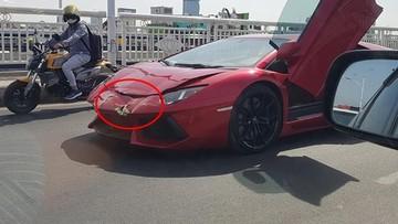 Siêu xe Lamborghini Aventador LP700-4 hư hỏng nặng sau tai nạn trên cầu tại Campuchia