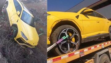 Siêu xe Lamborghini Urus rơi từ trên thùng xe cứu hộ xuống rãnh, bị nổ lốp trước