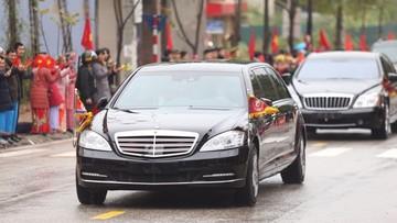 Xe bọc thép chống đạn Mercedes-Benz S600 Pullman Guard cùng Maybach 62S hộ tống Chủ tịch Triều Tiên về Hà Nội