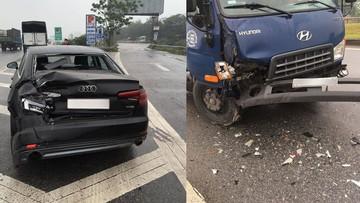 Bị ô tô tải tông từ phía sau trên quốc lộ 1, chiếc Audi A4 được cư dân mạng tấm tắc khen cứng