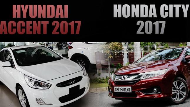 """So sánh xe Honda City 2017 và Hyundai Accent 2017: Nhật – Hàn """"bất phân thắng bại"""""""