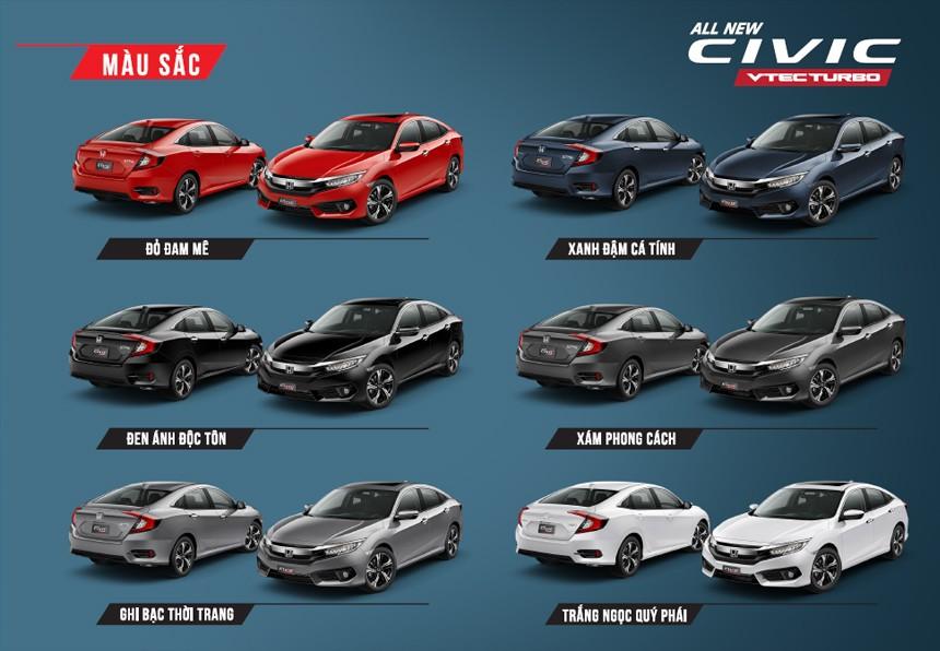 Màu sắc ngoại thất của Honda Civic