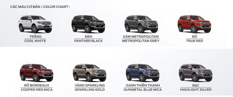 màu sắc ngoại thất của Ford Everest