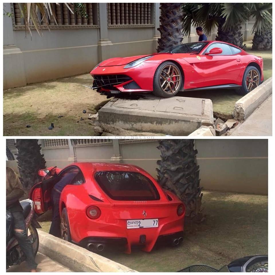 Siêu xe Ferrari F12 Berlinetta gặp nạn nghiêm trọng tại Campuchia