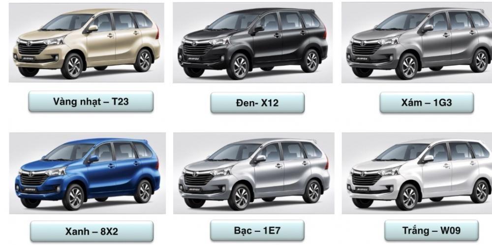 Màu sắc ngoại thất tùy chọn của Toyota Avanza