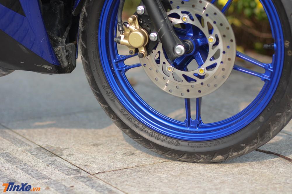Yamaha đã khác phục nhược điểm lốp trước của Exciter 150 khi trang bị bộ lốp trước có kích thước 90/80