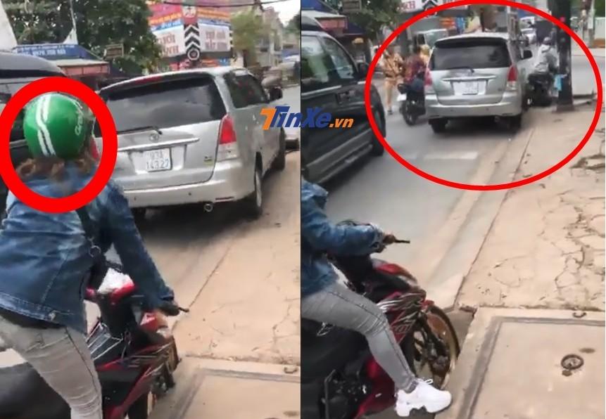 Cô gái chạy Honda Winner mũ xanh bị xe Toyota Innova ép ngã xe