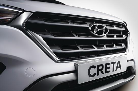 Hyundai Creta Sports Edition 2019 có lưới tản nhiệt mạ crôm màu tối